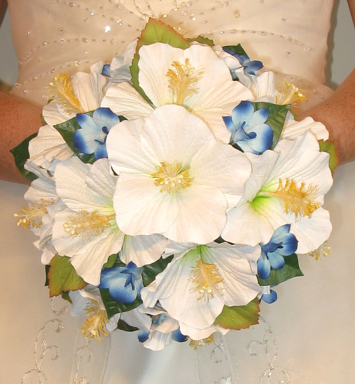 Artificial hibiscus wedding bouquets - Eternal Bouquets